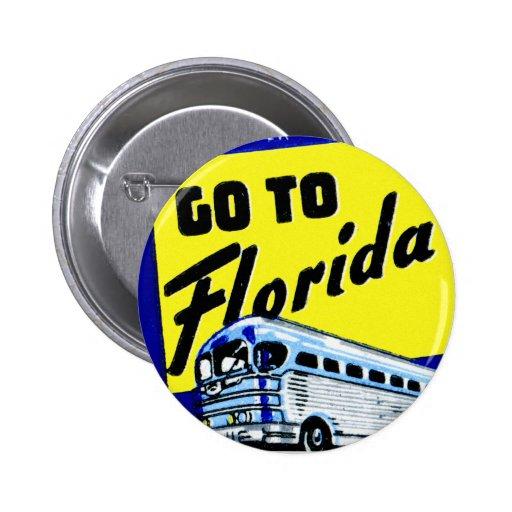 Vintage Bus Coach Matchbook Go To Florida Pinback Button