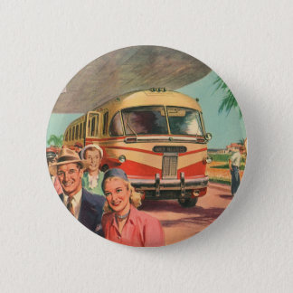 Vintage Bus Depot with Passengers on Vacation 6 Cm Round Badge