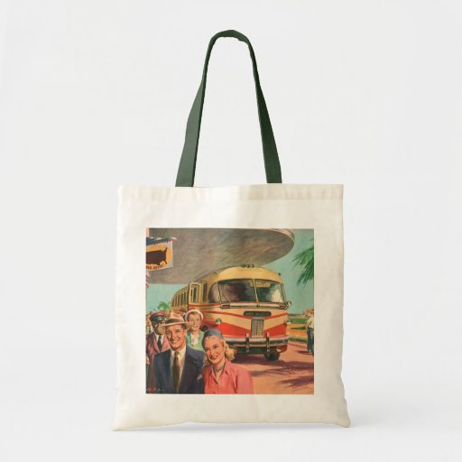 Vintage Bus Depot with Passengers on Vacation Canvas Bags