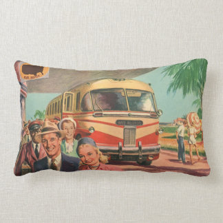 Vintage Bus Depot with Passengers on Vacation Cushion