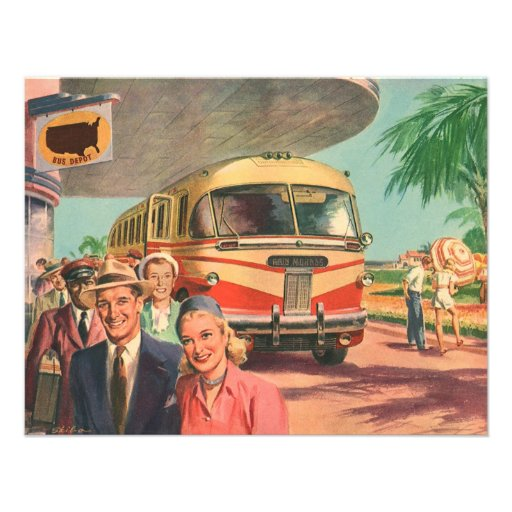 Vintage Bus Depot with Passengers on Vacation Personalized Announcement