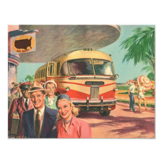 Vintage Bus Depot with Passengers on Vacation 11 Cm X 14 Cm Invitation Card