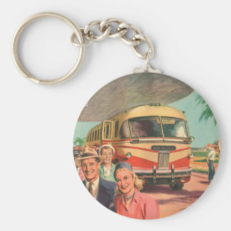 Vintage Bus Depot with Passengers on Vacation Key Chain