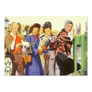 Vintage Bus Stop BFF Retro Gal Pals Invitation