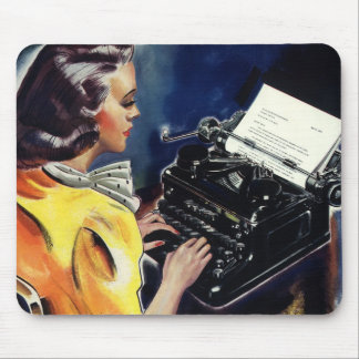 Vintage Business, Admin Secretary Typing a Letter Mouse Pad