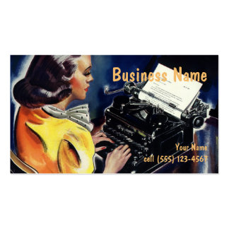 Vintage Business, Admin Secretary Typing a Letter Pack Of Standard Business Cards