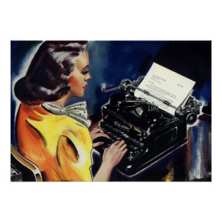 Vintage Business, Admin Secretary Typing a Letter Poster