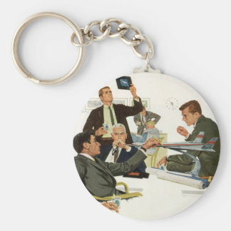 Vintage Business, Airline Executives in a Meeting Keychains