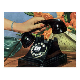 Vintage Business, Antique Phone with Rotary Dial Postcard