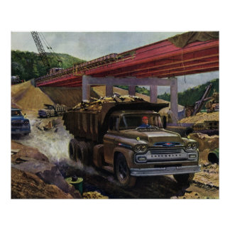 Vintage Business Construction Site with Dump Truck Poster