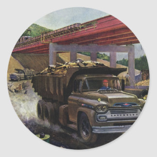 Vintage Business Construction Site with Dump Truck Round Sticker
