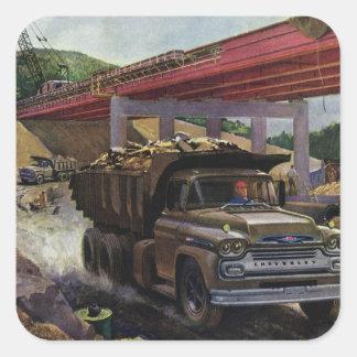 Vintage Business Construction Site with Dump Truck Square Sticker