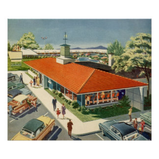 Vintage Business, Customers at a Family Restaurant Poster