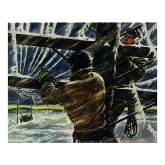 Vintage Business Electricians Work in a Snow Storm Poster