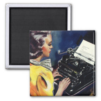 Vintage Business Executive Secretary Typing Letter Magnet
