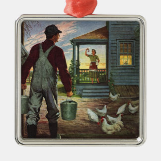 Vintage Business, Farm with Farmer and Chickens Metal Ornament
