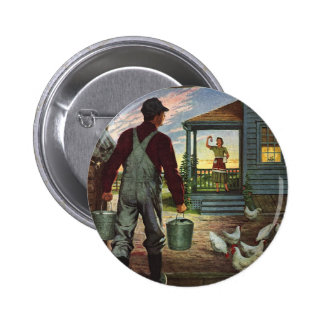 Vintage Business, Farmer Working on the Farm 6 Cm Round Badge