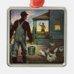 Vintage Business, Farmer Working on the Farm Christmas Tree Ornament