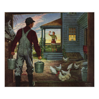 Vintage Business, Farmer Working on the Farm Poster