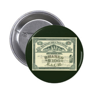 Vintage Business Finance Capital Stock Certificate 6 Cm Round Badge