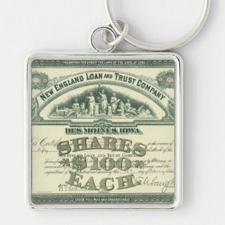 Vintage Business Finance Capital Stock Certificate Silver-Colored Square Key Ring