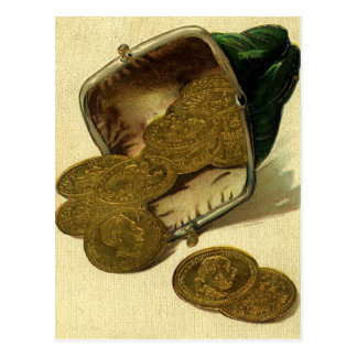 Vintage Business Finance, Gold Coin Money in Purse Postcard
