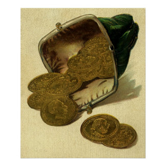 Vintage Business Finance, Gold Coin Money in Purse Poster
