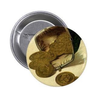 Vintage Business Finance Money, Gold Coin in Purse 6 Cm Round Badge