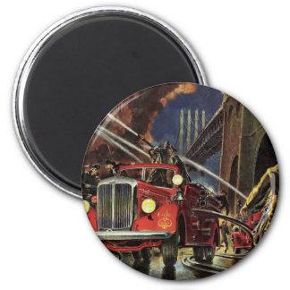 Vintage Business, Firemen Firefighters Fire Trucks Fridge Magnet