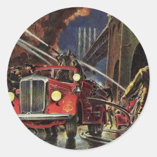 Vintage Business, Firemen Firefighters Fire Trucks Round Sticker