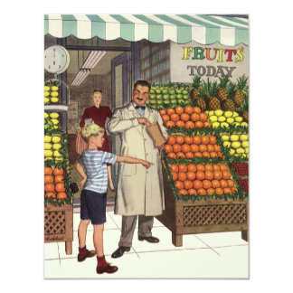 Vintage Business Grocer and Boy by the Fruit Stand 11 Cm X 14 Cm Invitation Card