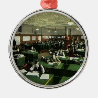 Vintage Business, Journalists in Newspaper Office Silver-Colored Round Decoration