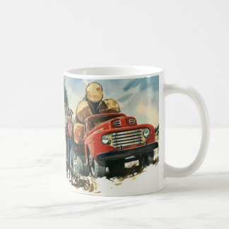Vintage Business, Logging Truck with Lumberjacks Coffee Mug