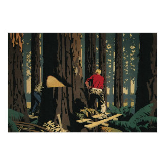 Vintage Business, Lumberjack Lumber Industry Perfect Poster
