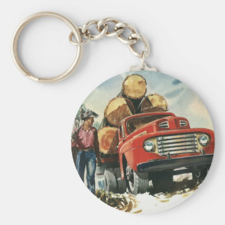Vintage Business, Lumberjacks with Logging Truck Basic Round Button Key Ring