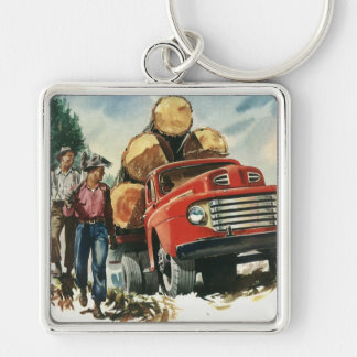 Vintage Business, Lumberjacks with Logging Truck Silver-Colored Square Key Ring