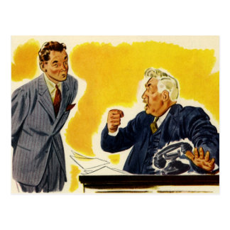 Vintage Business Mad Execcutive CEO Boss Employee Postcard