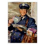 Vintage Business, Mailman Mail Carrier Delivering Cards