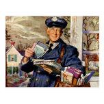 Vintage Business, Mailman Mail Carrier Delivering Postcards
