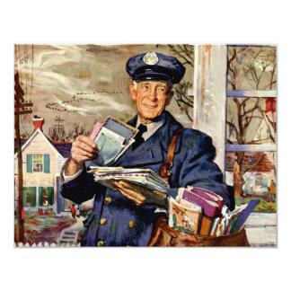 Vintage Business, Mailman Mail Delivering Letters Invitation Card