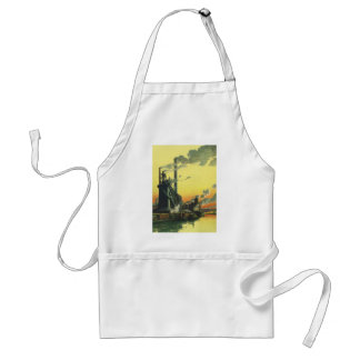 Vintage Business, Manufacturing Factory on a Dock Standard Apron