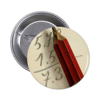Vintage Business, Math Equation with Red Pencil 6 Cm Round Badge