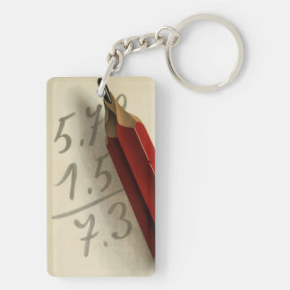 Vintage Business, Math Equation with Red Pencil Double-Sided Rectangular Acrylic Key Ring