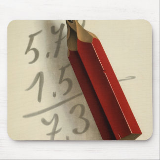 Vintage Business, Math Equation with Red Pencil Mouse Pad