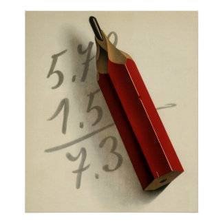 Vintage Business, Math Equation with Red Pencil Poster