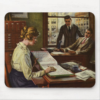 Vintage Business Meeting, Executives in Office Mouse Pad
