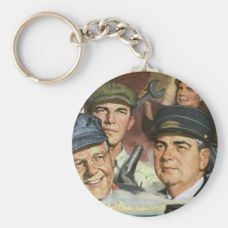 Vintage Business Occupations, Patriotic Patriotism Basic Round Button Key Ring