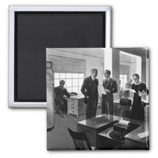 Vintage Business, Office Scene with Executives Refrigerator Magnet