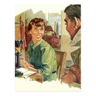 Vintage Business Office, Secretary and CEO Boss Postcard