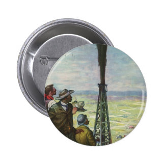 Vintage Business Oil Well Gushing with Workers Pinback Buttons